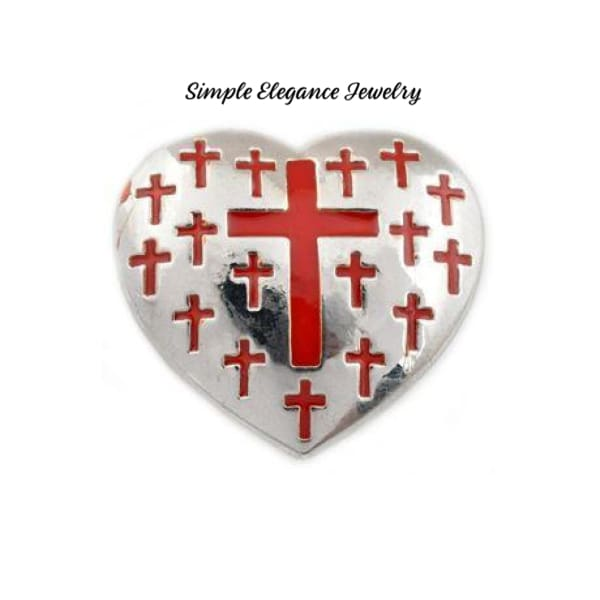 Heart Cross Metal Snap 22mm for Snap Jewelry - Red - Snap Jewelry