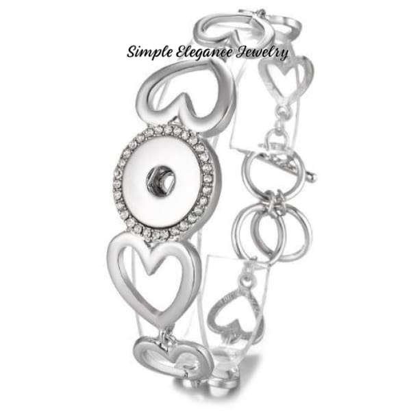 Heart Design Toggle Snap Bracelet - Snap Jewelry