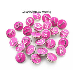 Hot Pink MINI Alphabet Letter Snap Charm 12mm for Snap Charm Jewelry - A - Snap Jewelry