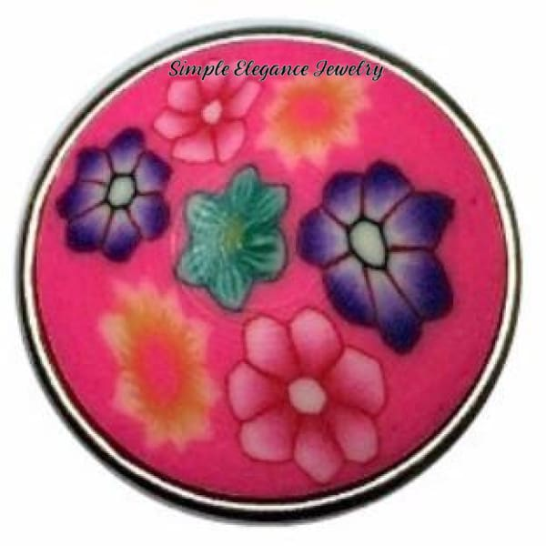 Hot Pink Polymer Clay Snap 18mm (Each One Slightly Different) - Snap Jewelry
