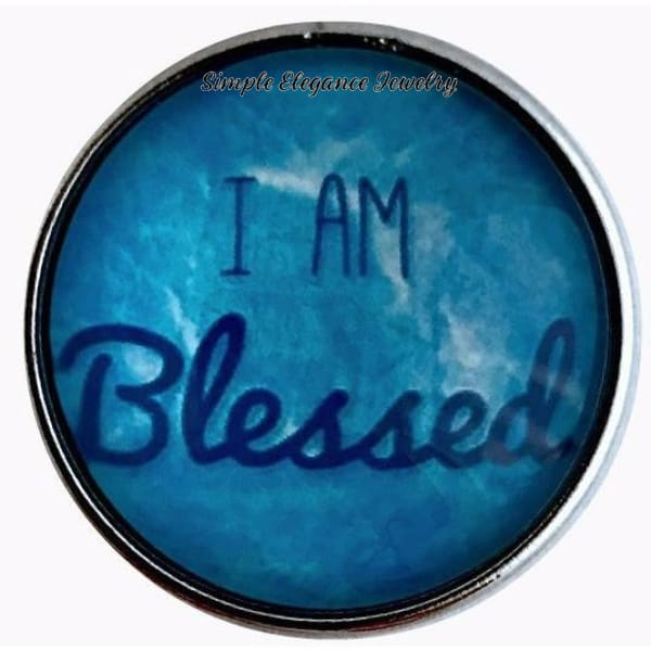 I Am Blessed Blue Snap Charm 20mm for Snap Charm Jewelry - Snap Jewelry