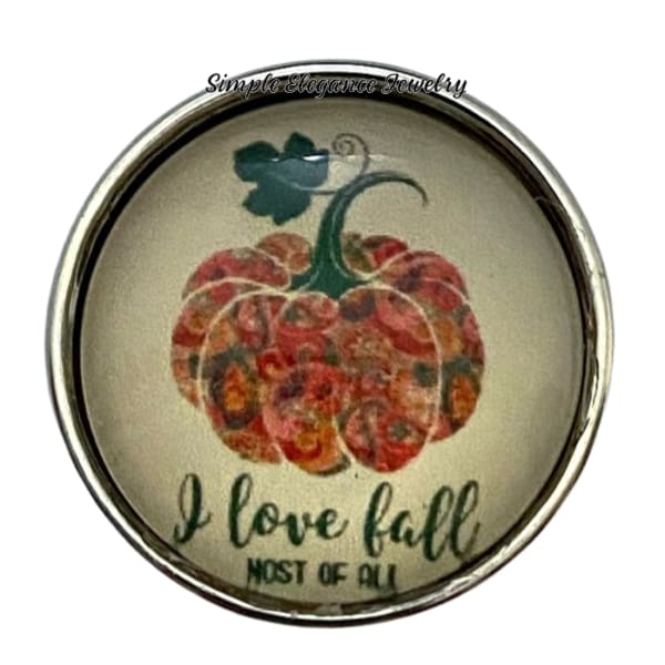 I Love Fall Pumpkin Snap Charm 20mm - Snap Jewelry