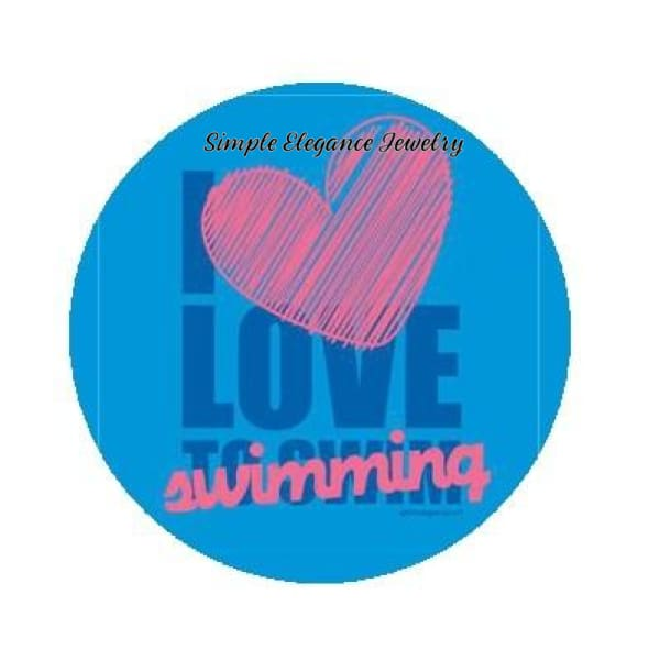 I Love Swimming Sports Snap Charm 20mm - Snap Jewelry