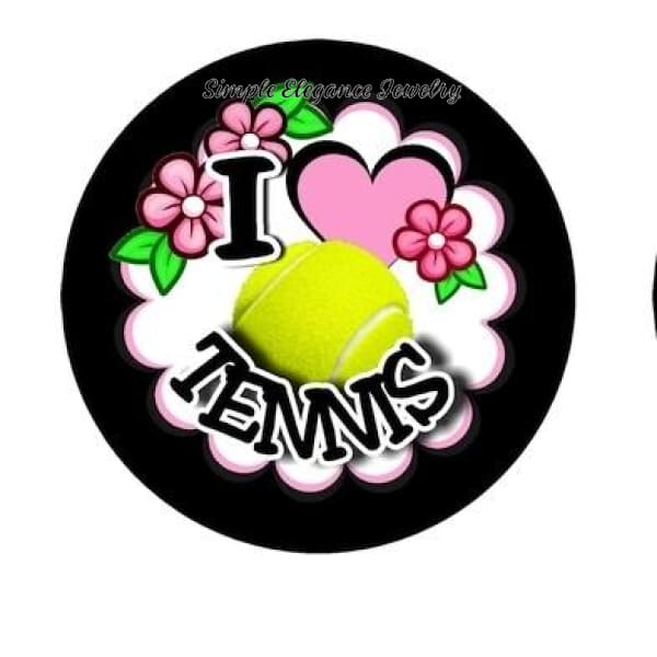 I Love Tennis Sports Snap Charm 20mm - Snap Jewelry