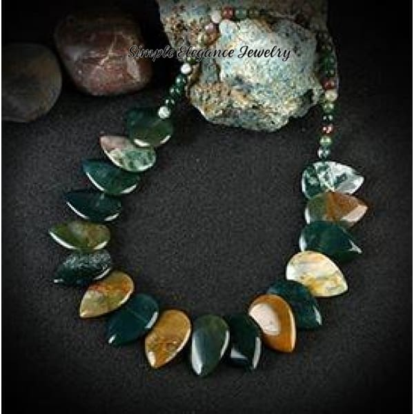 Indian Agate Onyx Stone Necklace (Matching Optional Bracelet) - Necklace - Natural Stone Necklaces