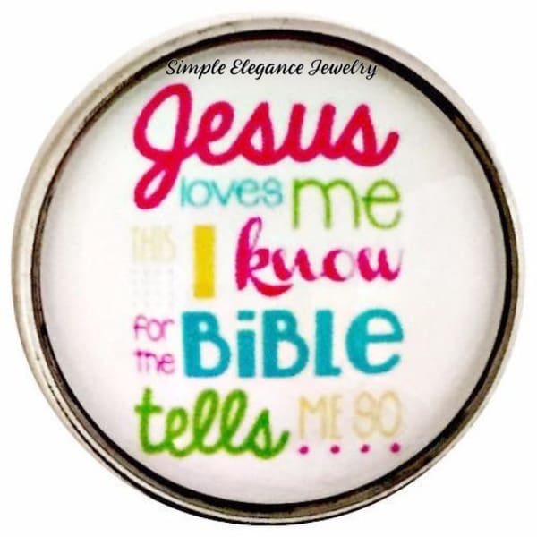 Jesus Loves Me This I Know Snap Charm 20mm for Snap Charm Jewelry - Snap Jewelry