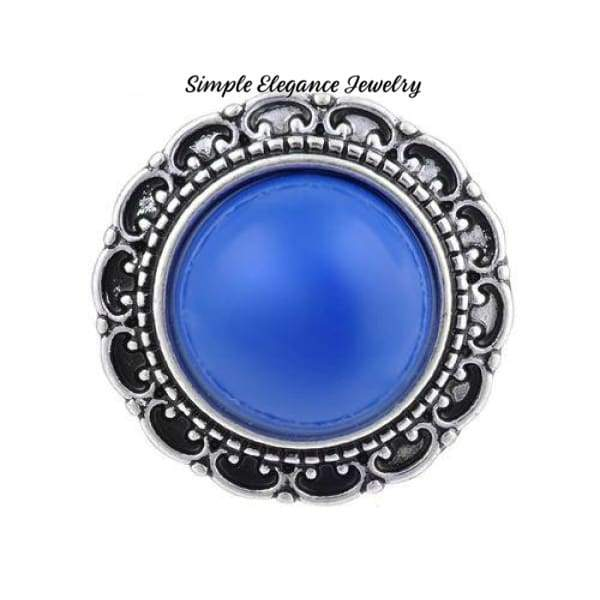 Filigree Edge Metal-Rhinestone Snap 20mm for Snap Charm Jewelry - Blue - Snap Jewelry
