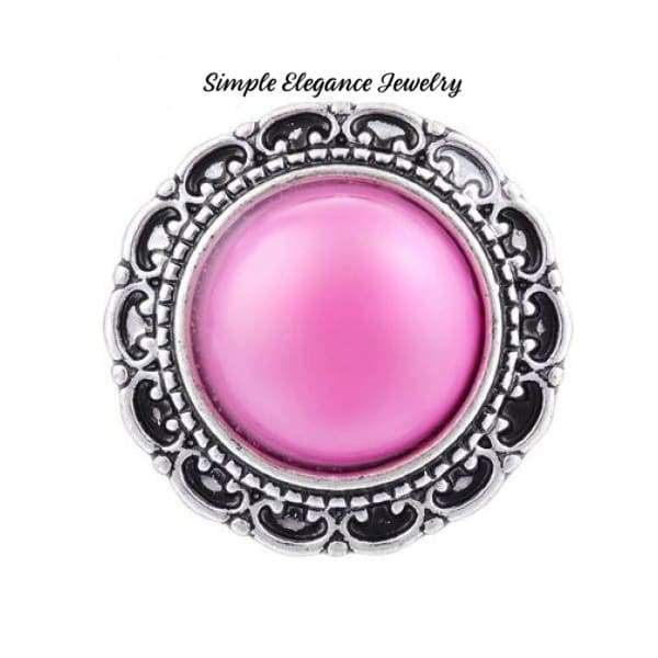 Filigree Edge Metal-Rhinestone Snap 20mm for Snap Charm Jewelry - Pink - Snap Jewelry
