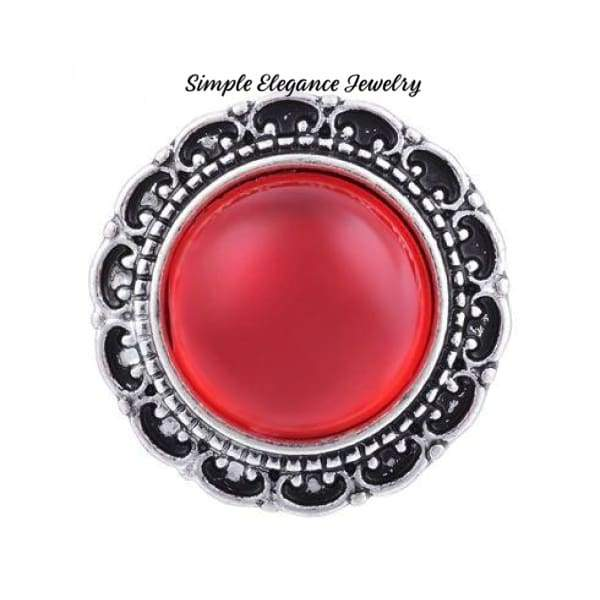 Filigree Edge Metal-Rhinestone Snap 20mm for Snap Charm Jewelry - Red - Snap Jewelry