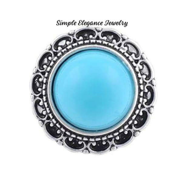 Filigree Edge Metal-Rhinestone Snap 20mm for Snap Charm Jewelry - Turquoise - Snap Jewelry