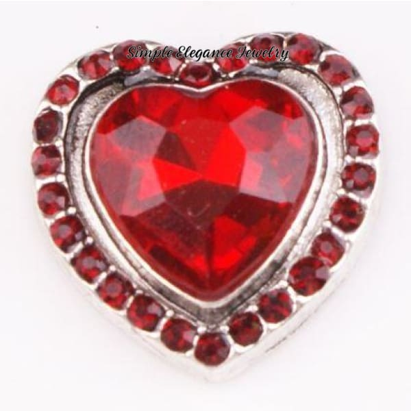 Large Red Rhinestone Heart Snap Charm 20mm - Snap Jewelry