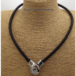 Leather Single Strand Magnetic Snap Necklace - Black - Snap Jewelry