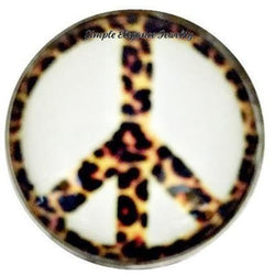 Leopard Peace Sign Snap 18mm for Snap Jewelry - Snap Jewelry