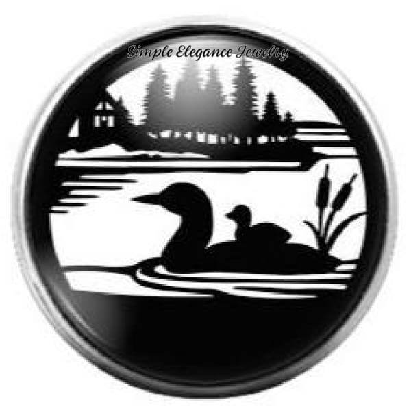 Loon Duck and Baby Snap Charm 20mm - Snap Jewelry