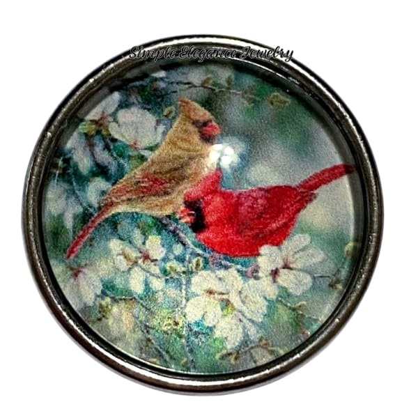 Male and Female Cardinal Bird Snap Charms 20mm - Snap Jewelry