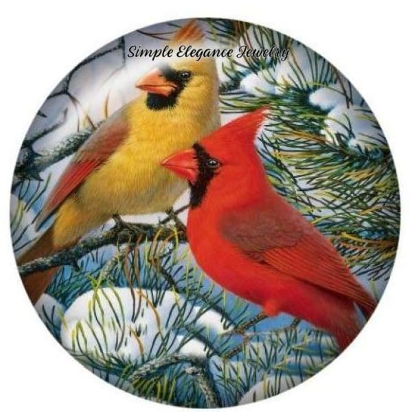 Male and Female Cardinal Snap Charm 20mm - Snap Jewelry