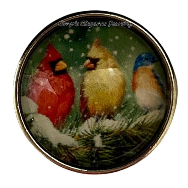 Male and Female Cardinal Snap With Blue Bird Snap Charm 20mm - Snap Jewelry