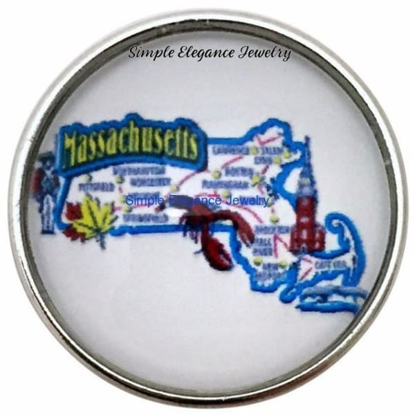 Massachusetts State Snap 20mm for Snap Charm Jewlery - Snap Jewelry