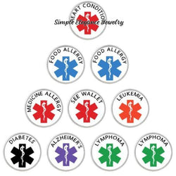 Medical Alert Snap Charms 20mm for Snap Jewelry - Snap Jewelry