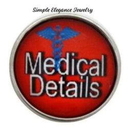 Medical Details Alert Snap Charm 20mm for Snap Jewelry - Snap Jewelry