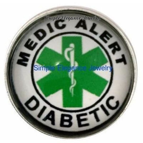 Medicial Alert Diabetic Snap 20mm for Snap Charm Jewelry - Snap Jewelry