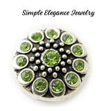 Metal Rhinestone Birthstone 18mm Snap Charm - Green - Snap Jewelry