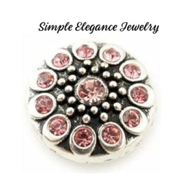 Metal Rhinestone Birthstone 18mm Snap Charm - Pink - Snap Jewelry