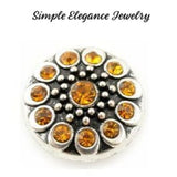 Metal Rhinestone Birthstone 18mm Snap Charm - Yellow - Snap Jewelry