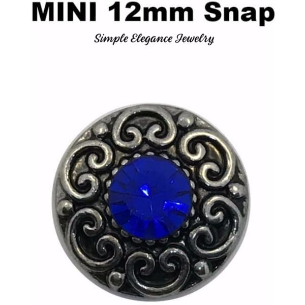 MINI 12mm Blue Rhinestone Snap Charm - Snap Jewelry
