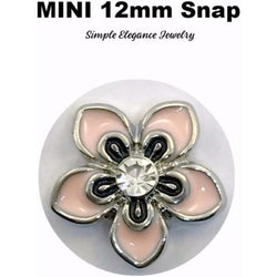MINI 12mm Light Pink Flower Snap Charm - Snap Jewelry