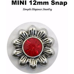 MINI 12mm Red Flower Snap Charm - Snap Jewelry