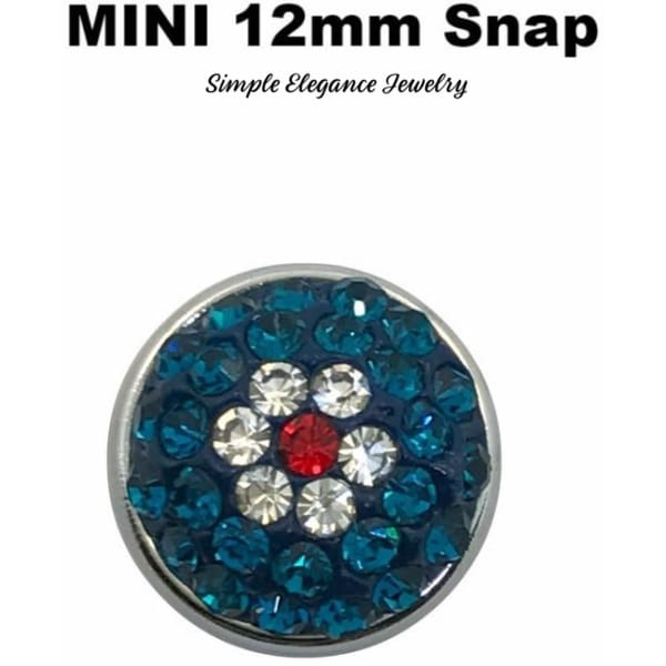 MINI 12mm Teal Rhinestone Flower Snap Charm - Snap Jewelry
