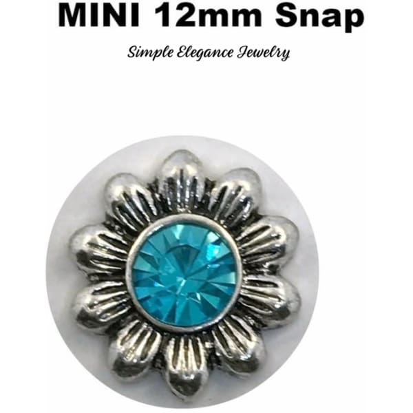 MINI 12mm Turquoise Rhinestone Flower Snap Charm - Snap Jewelry