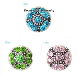 Mini Snaps-Rhinestone Flower-12mm for Snap Jewelry - Snap Jewelry