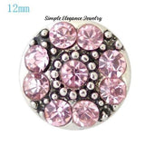 Mini Snaps-Rhinestone Flower-12mm for Snap Jewelry - Pink - Snap Jewelry