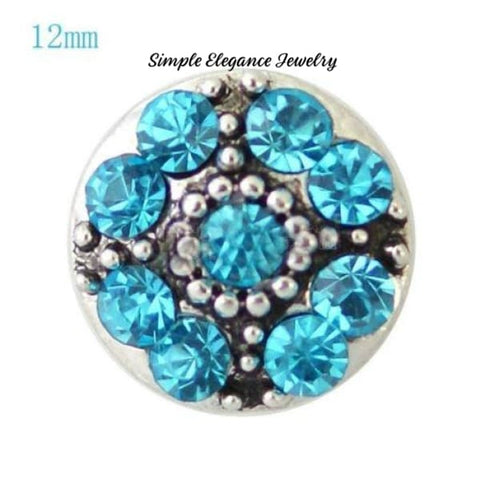 Mini Snaps-Rhinestone Flower-12mm for Snap Jewelry - Turquoise - Snap Jewelry