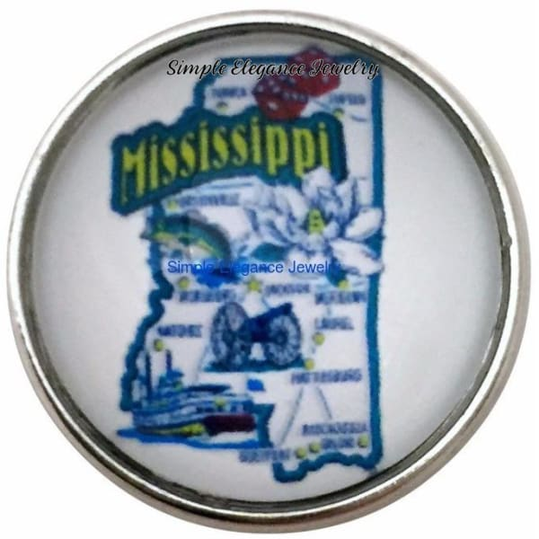 Mississippi State Snap 20mm for Snap Charm Jewelry - Snap Jewelry