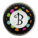 Multi-Colored Alphabet Letter Snaps 20mm (A-Z Available) - B - Snap Jewelry