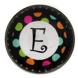 Multi-Colored Alphabet Letter Snaps 20mm (A-Z Available) - E - Snap Jewelry