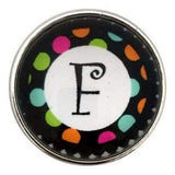 Multi-Colored Alphabet Letter Snaps 20mm (A-Z Available) - F - Snap Jewelry
