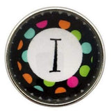 Multi-Colored Alphabet Letter Snaps 20mm (A-Z Available) - I - Snap Jewelry