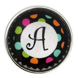 Multi-Colored Alphabet Letter Snaps 20mm (A-Z Available) - A - Snap Jewelry