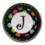 Multi-Colored Alphabet Letter Snaps 20mm (A-Z Available) - J - Snap Jewelry