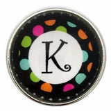 Multi-Colored Alphabet Letter Snaps 20mm (A-Z Available) - K - Snap Jewelry