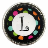 Multi-Colored Alphabet Letter Snaps 20mm (A-Z Available) - L - Snap Jewelry