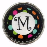 Multi-Colored Alphabet Letter Snaps 20mm (A-Z Available) - M - Snap Jewelry