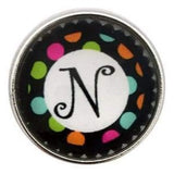 Multi-Colored Alphabet Letter Snaps 20mm (A-Z Available) - N - Snap Jewelry
