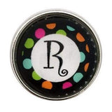 Multi-Colored Alphabet Letter Snaps 20mm (A-Z Available) - R - Snap Jewelry