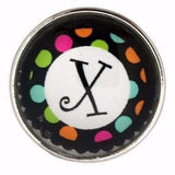 Multi-Colored Alphabet Letter Snaps 20mm (A-Z Available) - X - Snap Jewelry