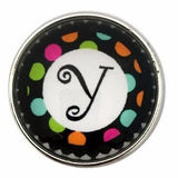 Multi-Colored Alphabet Letter Snaps 20mm (A-Z Available) - Y - Snap Jewelry